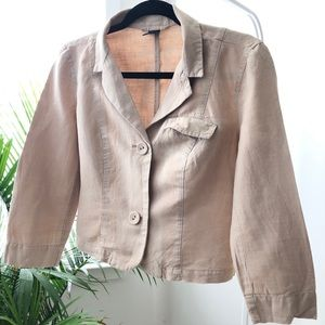 Long Sleeved Cropped Linen Jacket